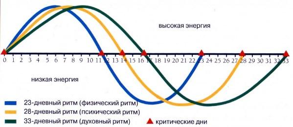 Фазы и уровни 3-х биоритмов, Календарь лунных дней на